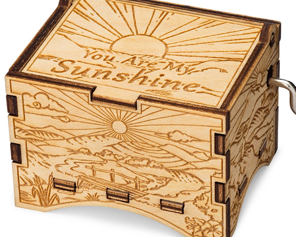 TheLaser'sEdge, You are My Sunshine, Personalizable Music Box, Laser Engraved Birch Wood (Artistic Standard) by TheLaser'sEdge