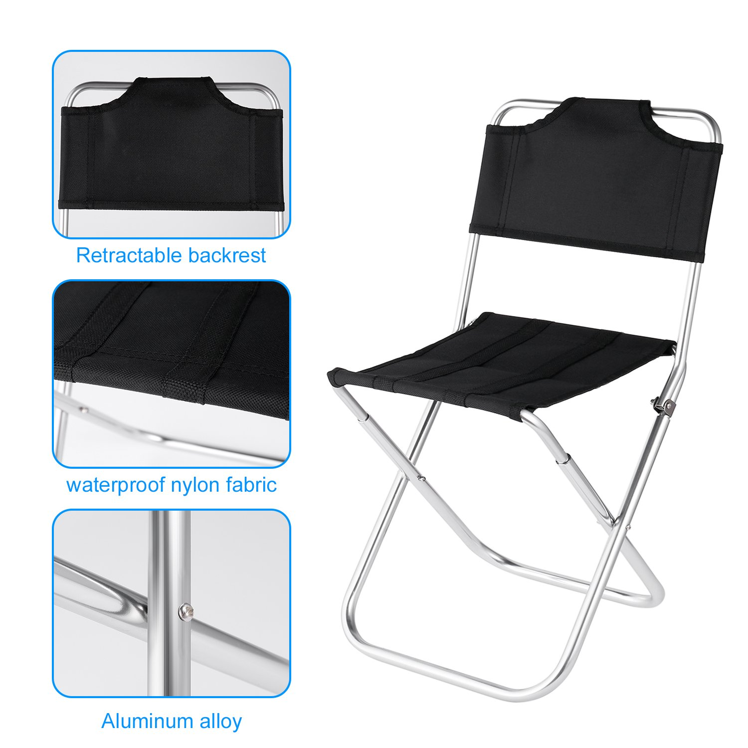OUTAD Mini Portable Folding Oxford Aluminum Chair Stool Seat for