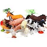 BOLMAZ Farm Animals Figures Toys, 26PCS Realistic Jumbo Plastic Farm Figurines Playset Includes Fences, Learning…