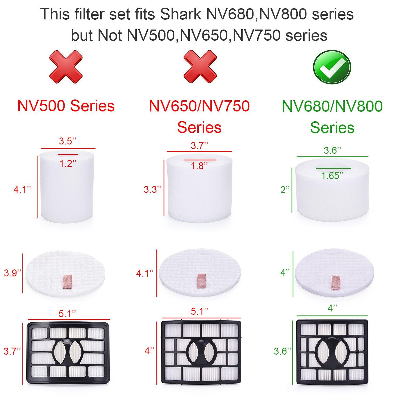 Compare to Part # XHF680 /& XFF680 NV800W NV803 UV810 Hepa Filter /& Foam Filter NV801 Containing 2 Foam Filter and 1 Hepa Filter Smartide kit for Shark Rotator Pro Lift-away NV680 NV800