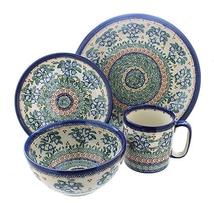 Polish Pottery Bluebell 4 Piece Dinner Set  sc 1 st  Amazon.com & Amazon.com   Polish Pottery Bluebell 4 Piece Dinner Set: Dinnerware Sets
