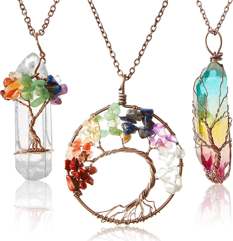 Hicarer 3 Colgantes de Vida Árbol Collar de Colgante de Cristal de Cuarzo de Vida de Árbol Collar Envolver de Alambre de Cobre de Piedra Preciosa Chakra (Estilo Cálido)