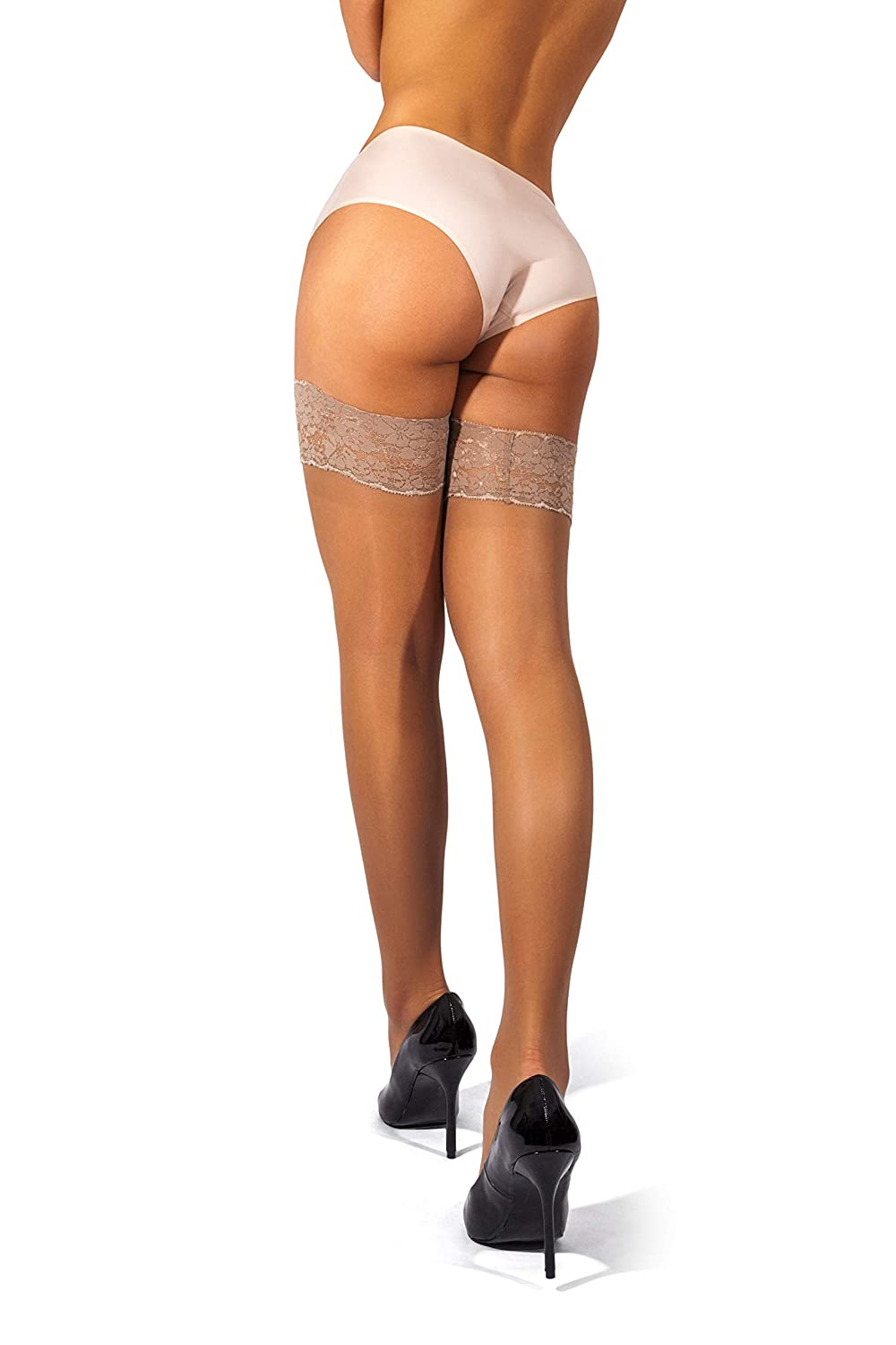 15 or 20 Denier sofsy Lace Sheer Thigh-High Stockings//Pantyhose w//Hold-Up Silicone Made in Italy