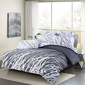 Swanson Beddings Tree Branches 3 Piece 100% Cotton Bedding Set: Duvet Cover  And
