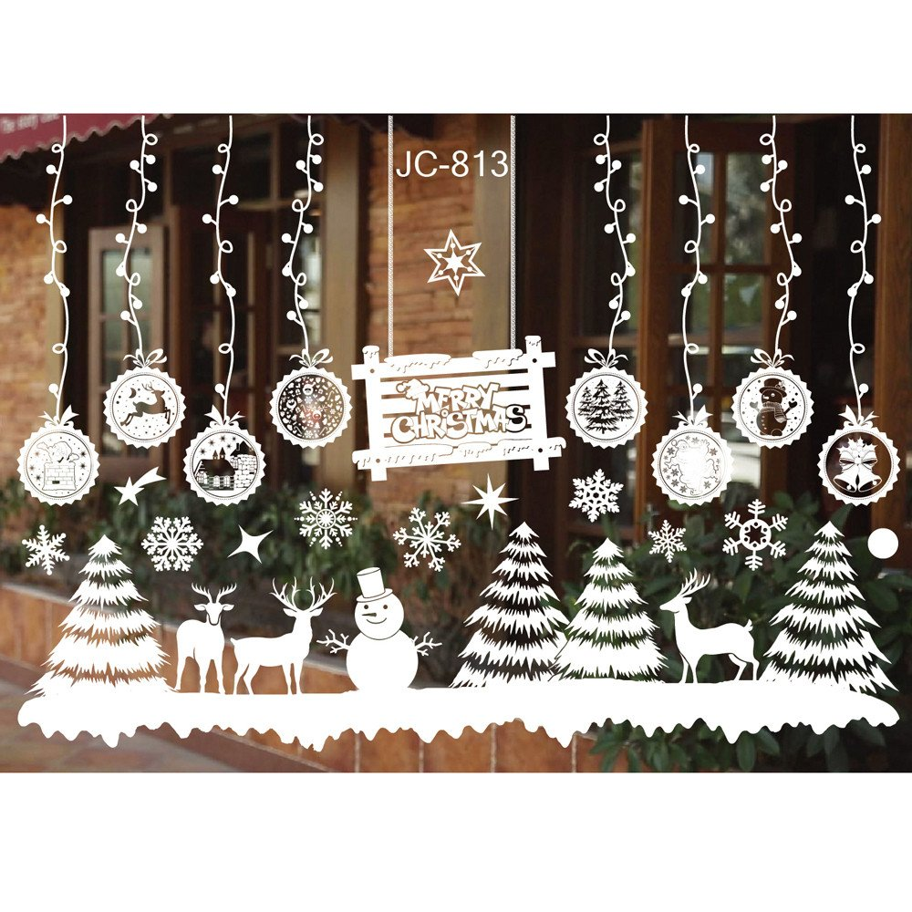 Super Beatuiful Christmas Wall Stickers Xmas Window Decals White Wallpaper Art Living Room Home Shop Decor - Viahwyt (H) A96 Snowflake