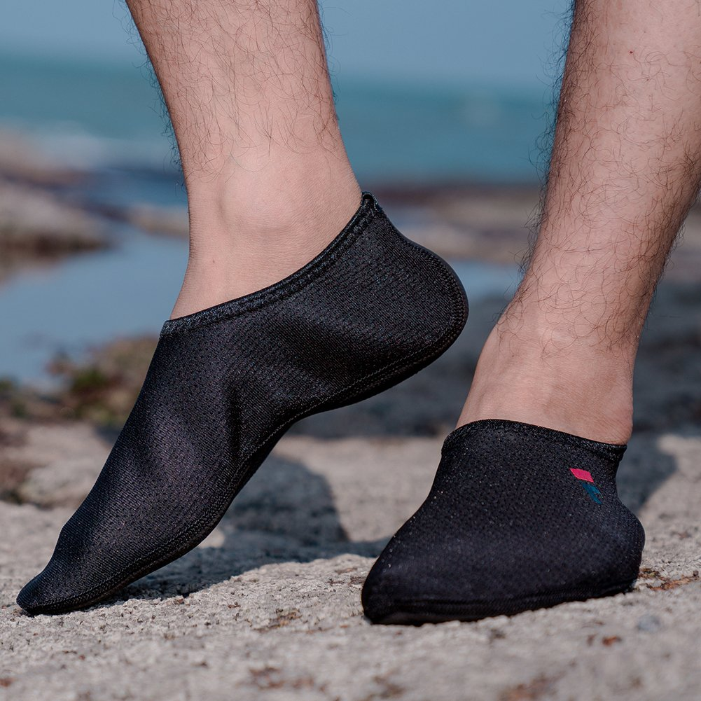 QYTBM Mens Womens Water Socks Shoes Yoga Sports Aqua Shoes Surfinf Shoes Stockings Swimming Athletic(XL,Black) by QYTBM (Image #2)