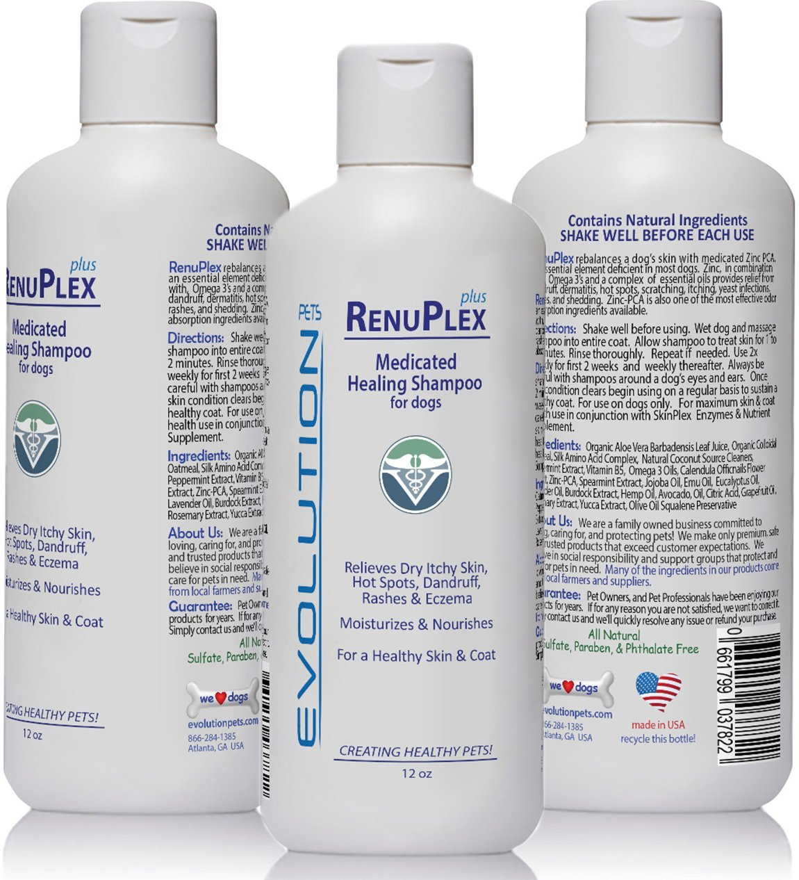 BEST Itchy Dog Shampoo. RenuPlex PLUS Medicated Dog Shampoo. SAFE, All Natural Dog Shampoo for Itchy Skin and Dog Dry Skin