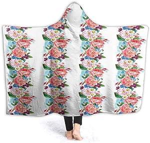 Hooded Blanket 3D Printing Daisy Wild Nature Garden Super Soft Flannel Blanket W50 x L40 Inch