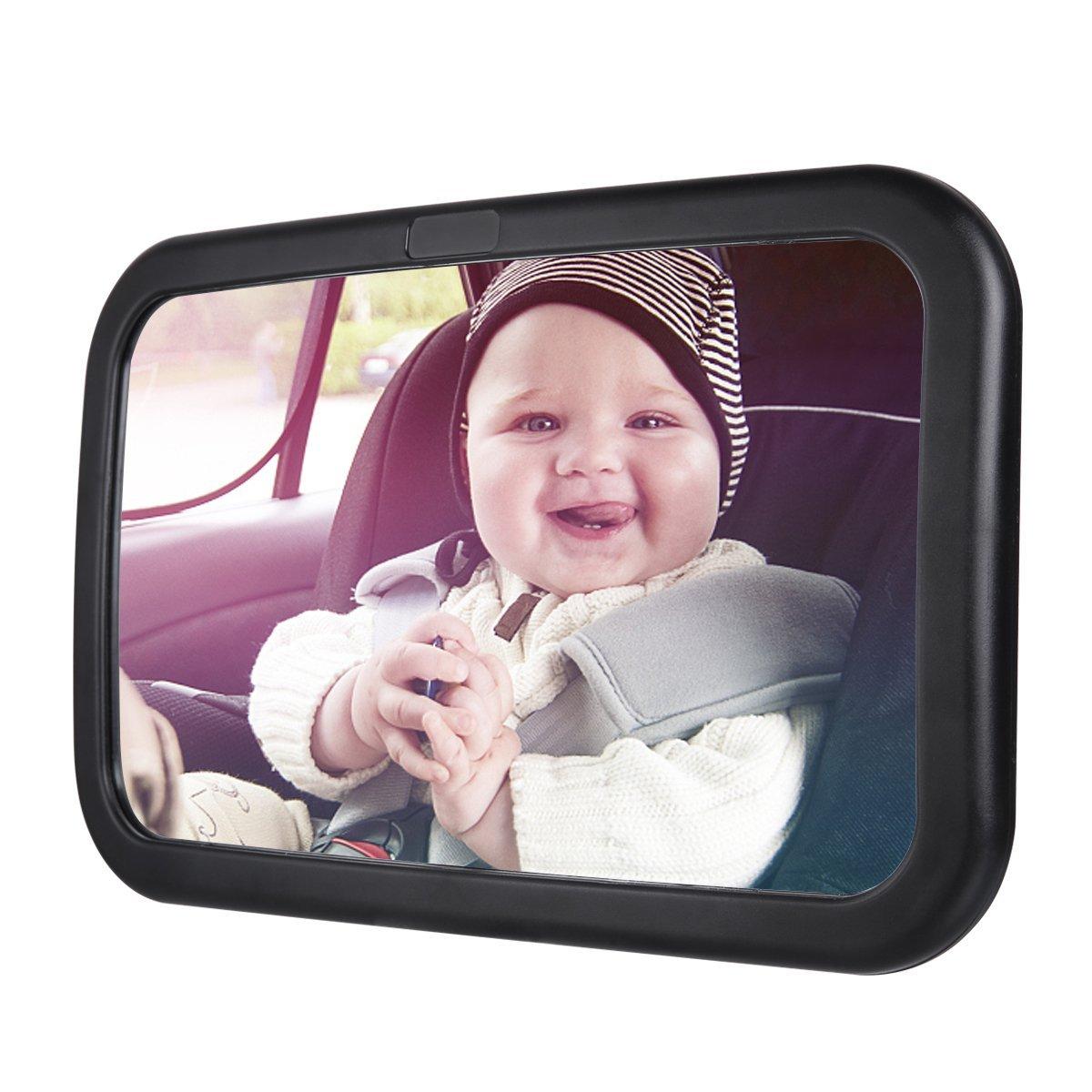 Poseca Bébé Miroir de Voiture, Auto Bébé Enfant Siège Arrière Miroir pour Visualiser Infant en Dos à la Route, Rétroviseur de Surveillance Bébé, Sécurité, Incassable et Rotation 360°
