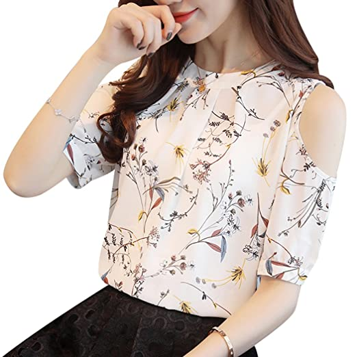 feb56da698e XWDA Cold Shoulder Tops Women Chiffon Floral Print Blouse Elegant Short  Sleeve T-Shirt at Amazon Women s Clothing store