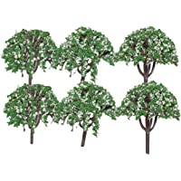 Asian Hobby Crafts Colorful Plastic Mini Artificial Craft Garden Decoration Trees, Green/White (6 Pieces, 2.5-inch)