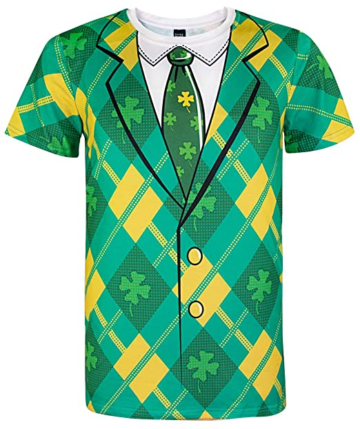 05cf9b05 Funny World ST. Patrick's Day Men's Leprechaun Costume Clover Tuxedo T- Shirts (M
