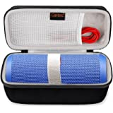Canboc Shockproof Bluetooth Speaker Carrying Case For JBL Flip 3 & 4, USB Cable & Power Charger | Durable & Impact Resistant EVA Exterior, Ergonomic Carrying Wrist Strap | For Storage, Travel, & More
