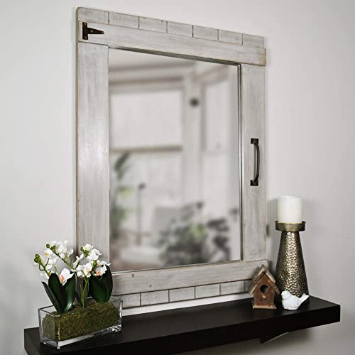 FirsTime Co. Weathered Barn Accent Wall Mirror, 32 x 24 , Rustic Gray