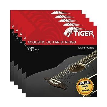 Tiger - Cuerdas para guitarra acústica (5 unidades, 11-52): Amazon ...