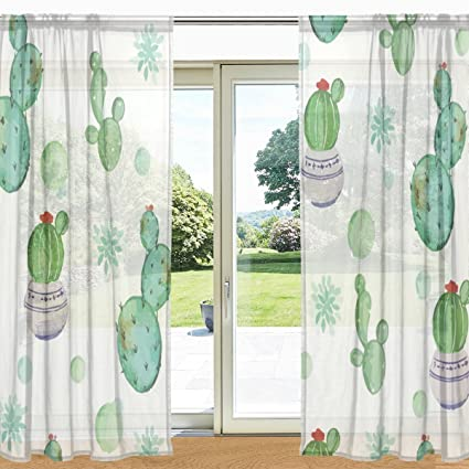 My Daily Cactus Printed Sheer Window And Door Curtain 2 Panels 55quot X 78quot