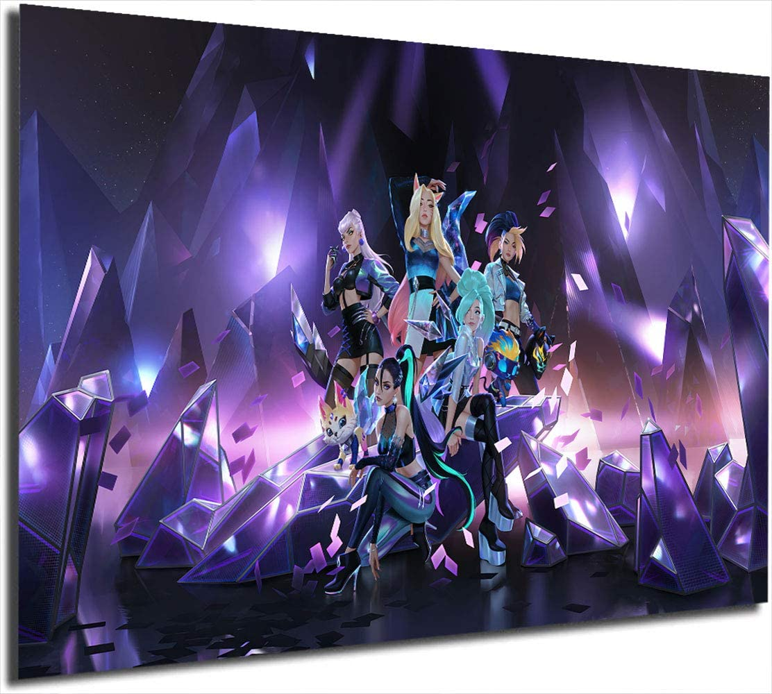 """Coobal Kda Ahri Evelynn Akali Seraphine Kaisa Poster Print Abstract Painting 24"""" X 36"""" League Legends Wall Art Prints and Posters Bedroom Wall Art Decoration Pictures Home Decor,Unframed"""