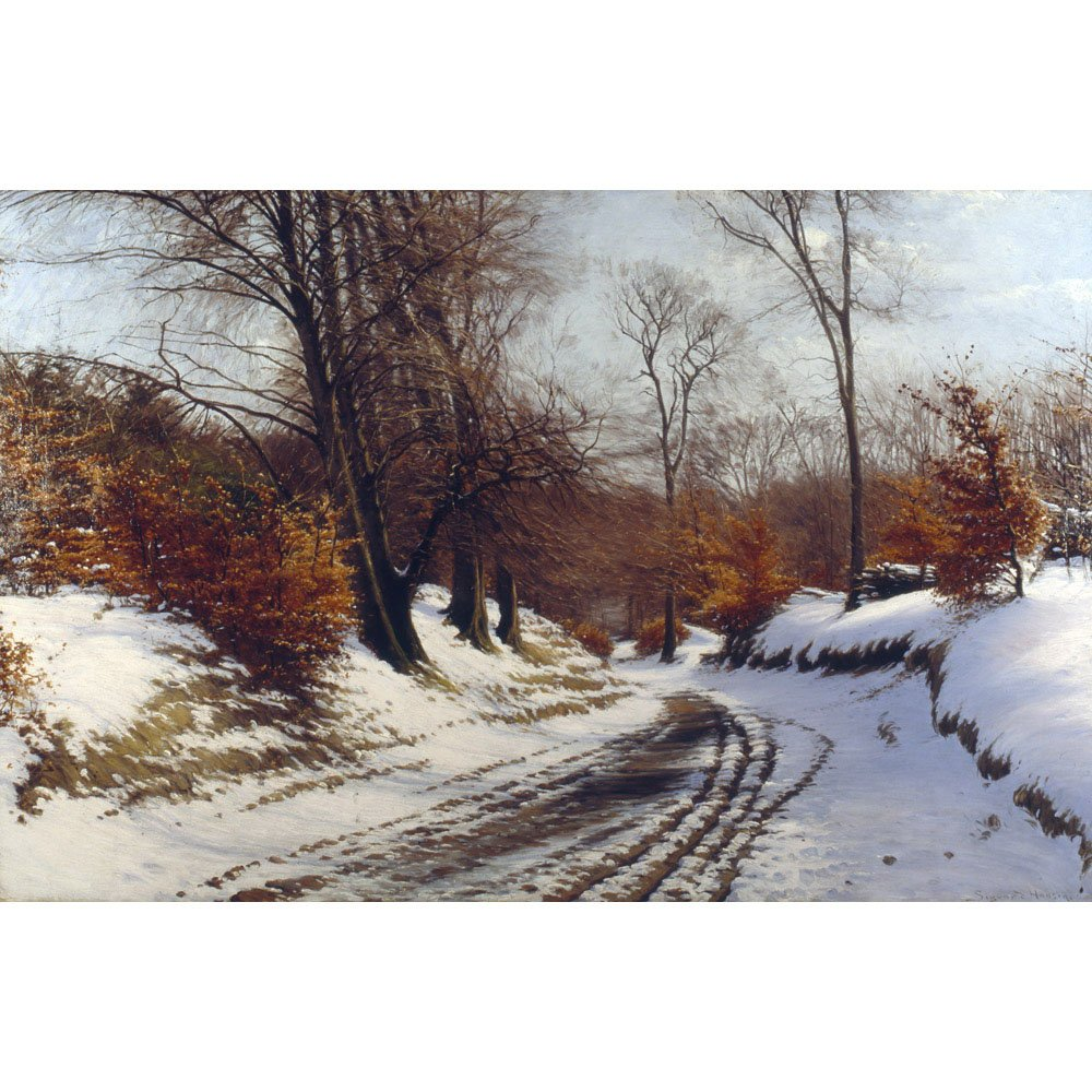 A Wooded Winter Landscape, Sigvard Hansen - Medici Drucken