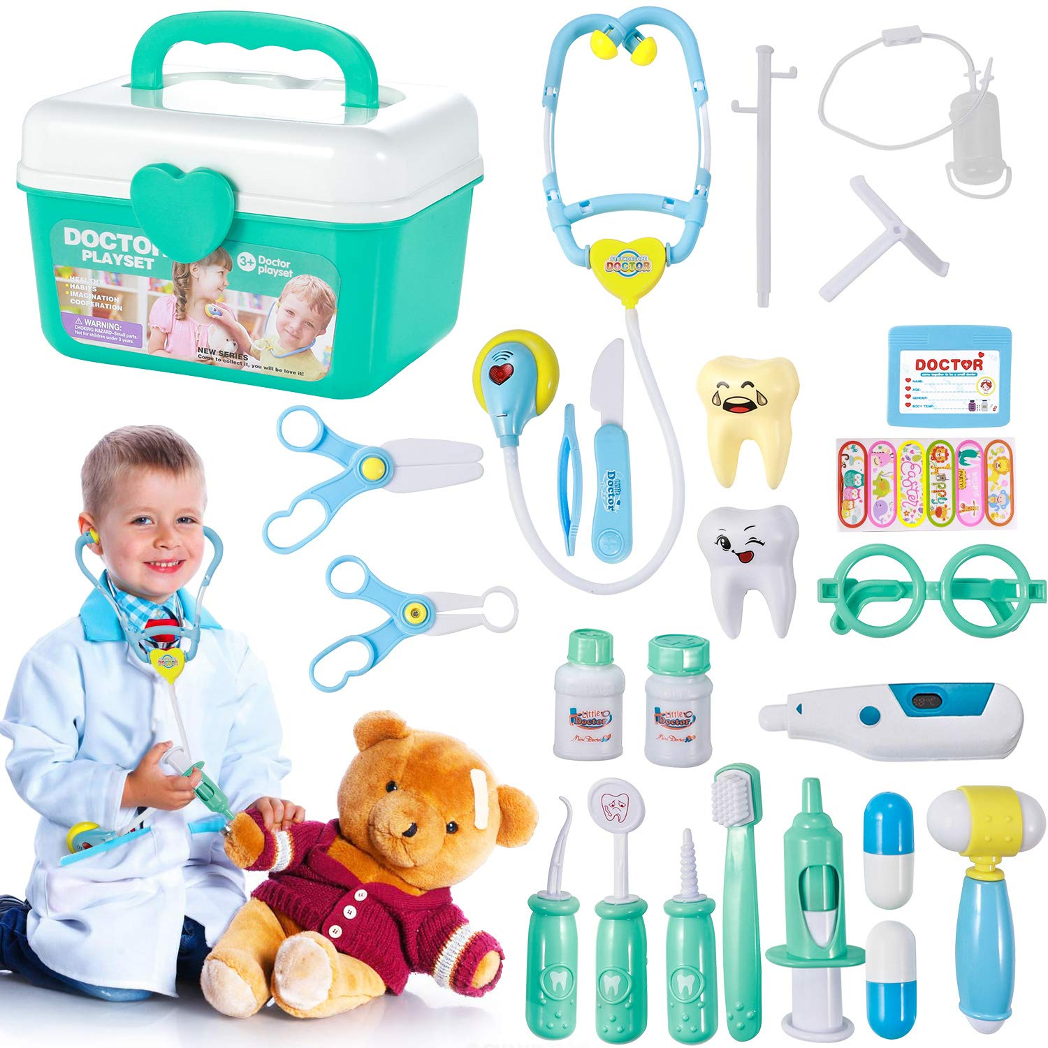 Kids Doctor Set, GEYIIE 23 Piece Medical kit Pretend Play Toys with Electronic Stethoscope Dentist Educational Toy Playset for Boys Girls by Geyiie