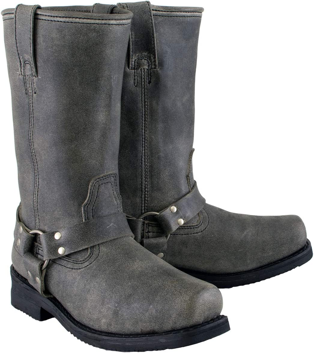 Xelement LU1605 Mens 13in Stone Wash Black Leather Harness Motorcycle Boots 10.5