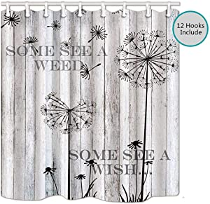 Rustic Gray Wooden Barn Wall Shower Curtains for Bathroom, Dandelion Wish Seeds Cabin Farmhouse Wood Board Decor Bath Curtains, Art Dandelion Shower Curtain 69X70 Inches, Gray