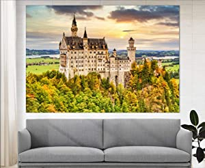 Marchak Neuschwanstein Castle Canvas Print, German Wall Decor, European Architecture, German Castle Photo, German Wall Art, Autumn Canvas Print