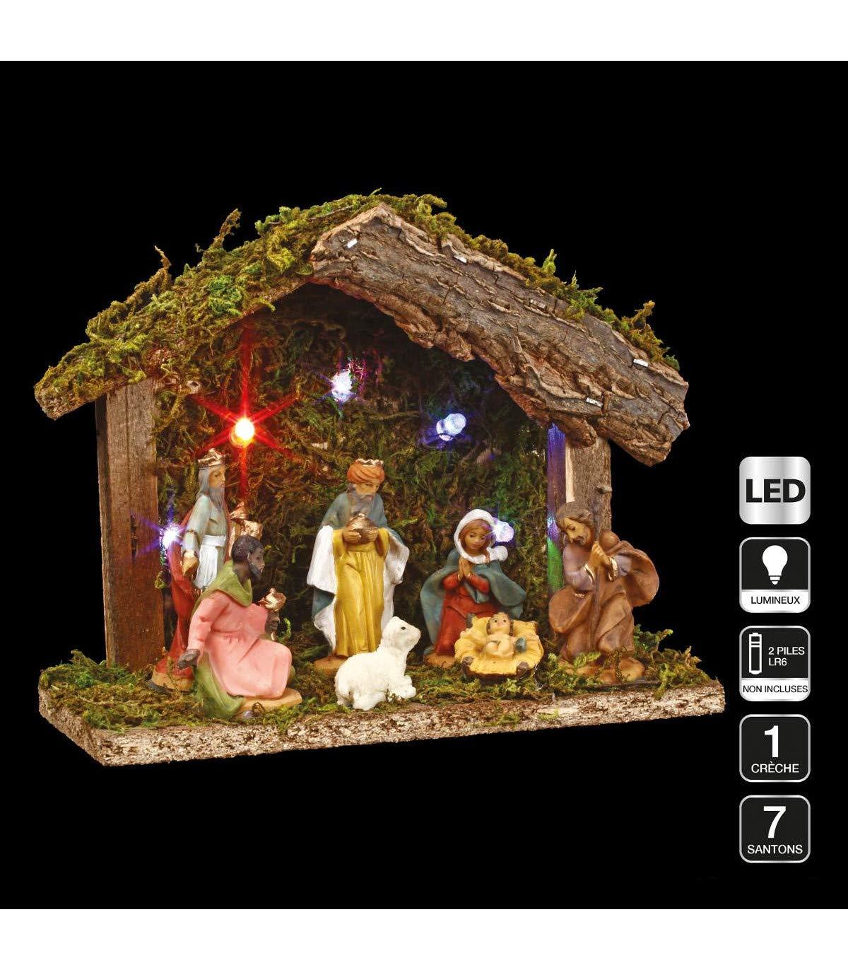 3 in 1 Christmas decoration : 1 Nativity scene + 7 figurines + LED lighting