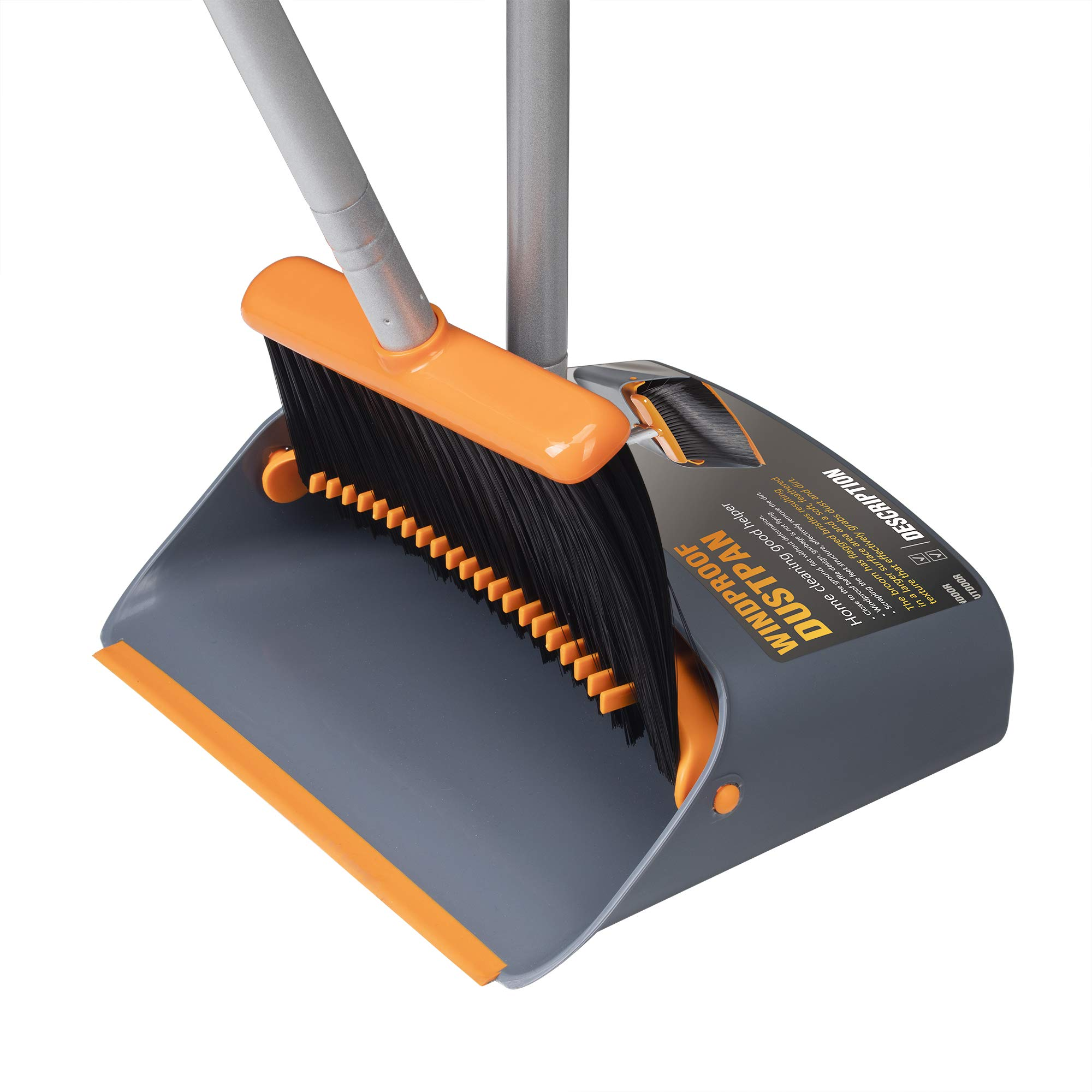 TooToo Broom and Dustpan Set, Sweep Set, Upright Broom and Dustpan Combo with 40''/54'' Long Extendable Handle for Household Cleaning Sweeping, Orange and Dark Grey
