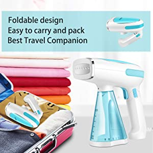 Steamer for Clothes Mini Portable 1200W Powerful Garment Steamer Clothing Handheld Fabric Steam Iron Wrinkle Remover Clean and Sterilize Fast Heat-up Auto-Off Safety High Capacity for Home and Travel