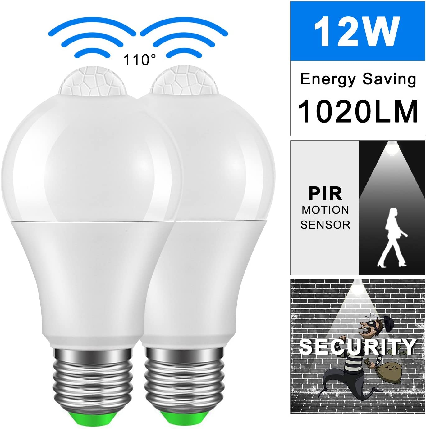 E27 7//12W PIR Infrared Motion Sensor Detection Auto Lamp LED Light Bulb 85-265V