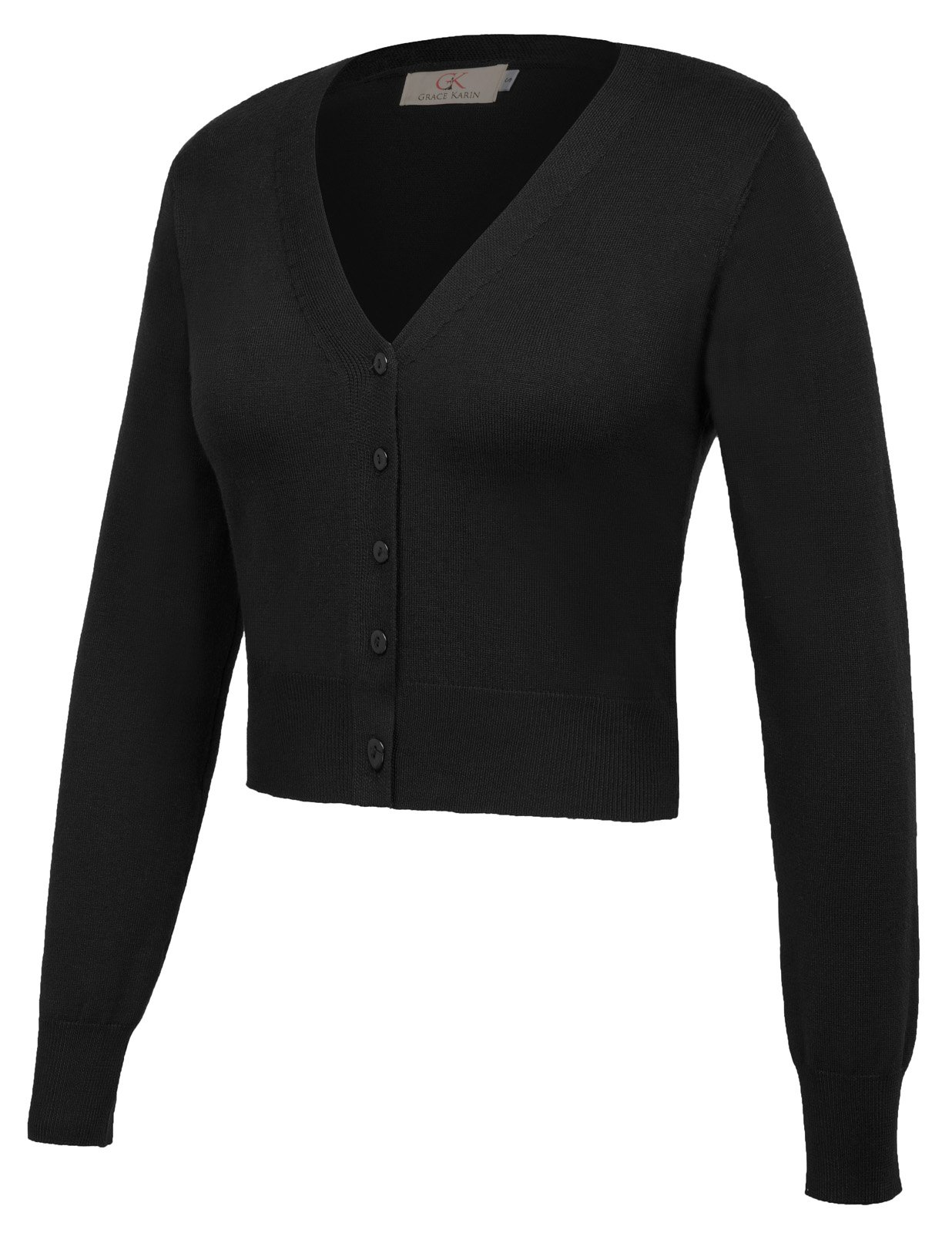 GRACE KARIN Women Cropped Short Chiffon Bolero Shrug Black Size S CL2000-1
