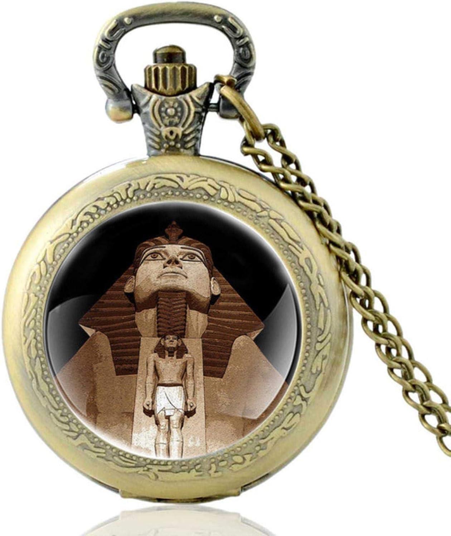 ZDANG Reloj de Bolsillo de Cuarzo clásico con Estatua de Piedra del Antiguo Egipto Vintage para Hombres y Mujeres, Colgante con dijes, Reloj de Horas, Regalos
