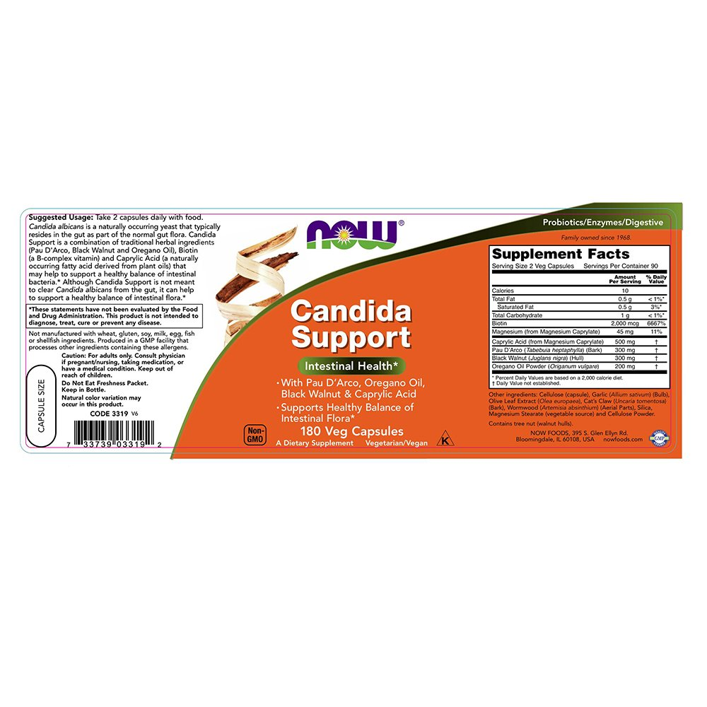 NOW Candida Support 180 Capsules Image 2