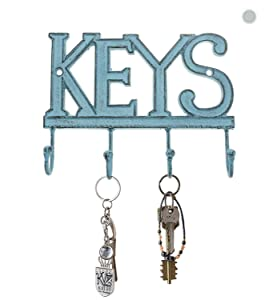 "Key Holder ""Keys"" – Wall Mounted Western Key Holder | 4 Key Hooks | Decorative Cast Iron Key Rack | with Screws and Anchors – 6x8""- CA-1506-04 (Rustic Blue)"