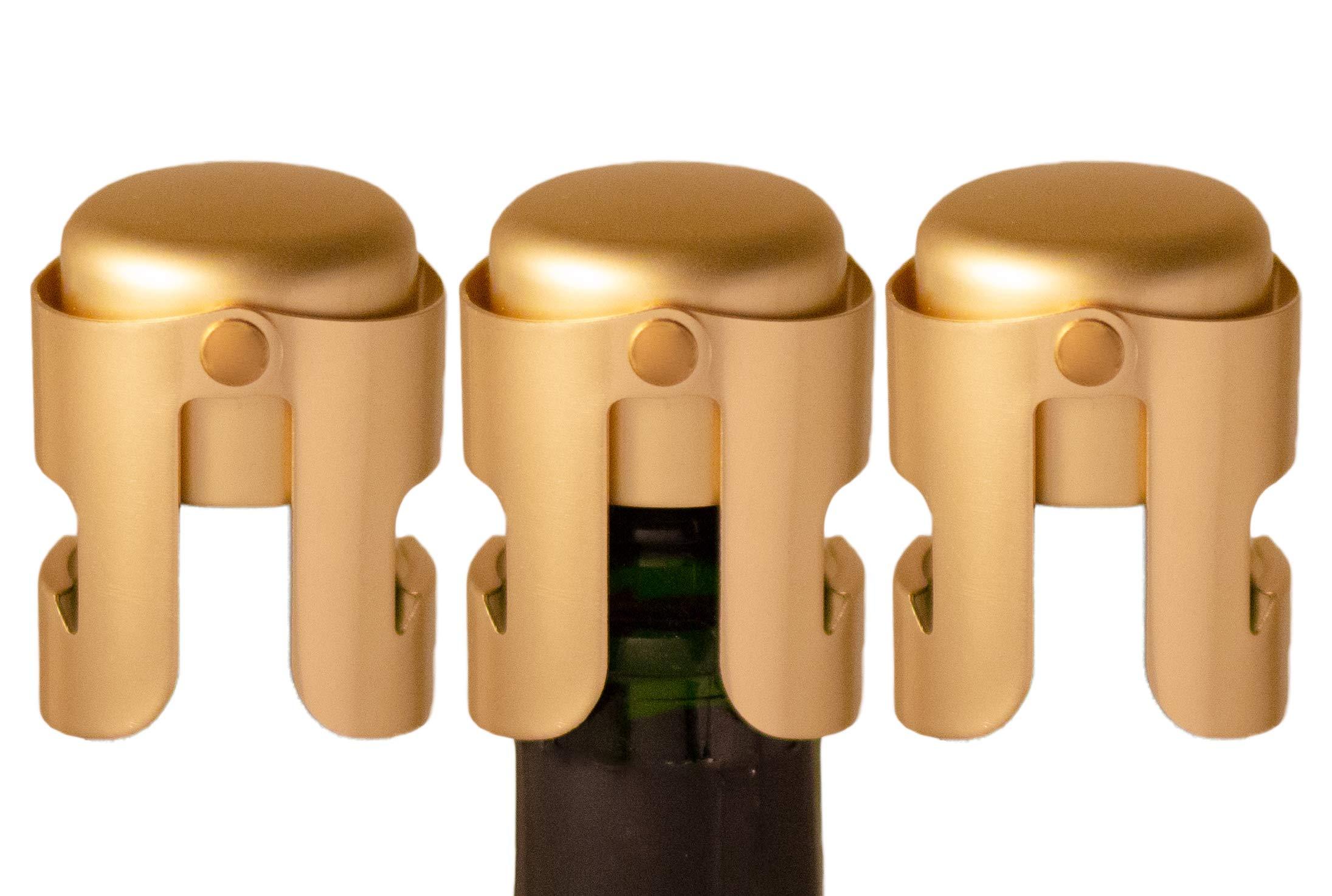 Gold Champagne Stopper, Designed in France, Bottle Sealer for Cava, Prosecco, Sparkling Wine, Gold Plated, No Sharp Edge, Simple Design, No Leaks, No Spills, Passed 13 lbs Pressure Test (Set of 3)