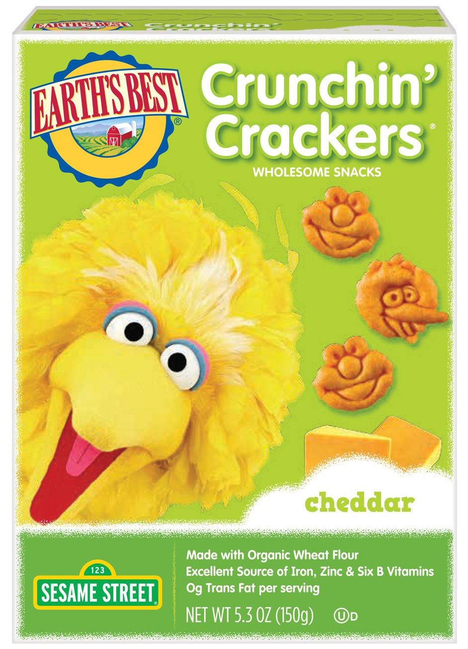 Earth's Best Organic Sesame Street Toddler Crunchin' Crackers, Veggie, 5.3 oz. Box (Pack of 6) Hain Group (Earth' s Best)