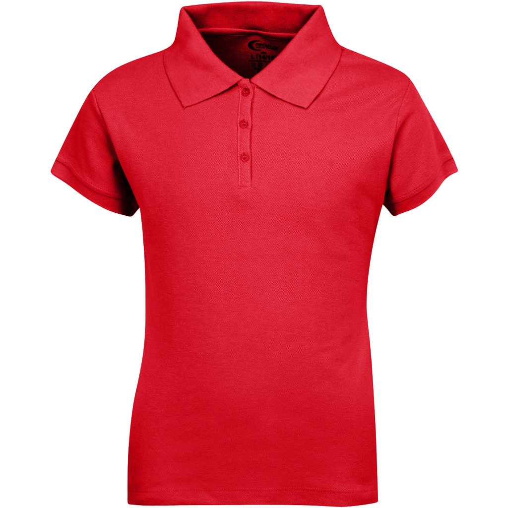 Premium Short Sleeves Girls Polo Shirts Red L 14/16
