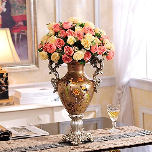 Amazon Com Tall Resin Vases For Centerpieces Matching Red Rose For Living Room Dining Table Decoration Bedroom Office Hotel Home Wedding Decoration Hand Painted Crafts Yellow Color Vase With Flowers 4 Home Kitchen