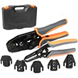 IWISS Ratcheting Crimping Tool Set 8 PCS - Quick Exchange Jaw for Heat Shrink, Non-Insulated, Open Barrel, Insulated and Non-