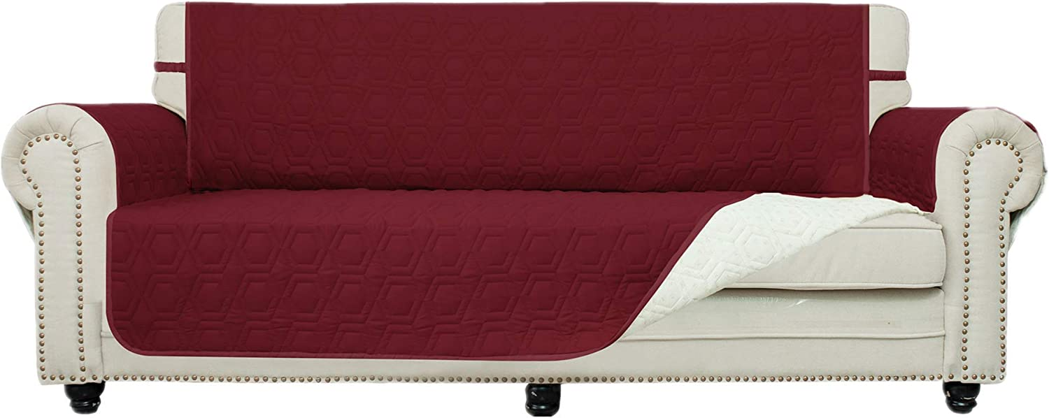 Chenlight Sofa Slipcover Furniture Protector Slip Resistant Waterproof Stain Resistant Machine Washable Sofa Cover for Kids Children Pets Dog Cat(Sofa:Burgundy)