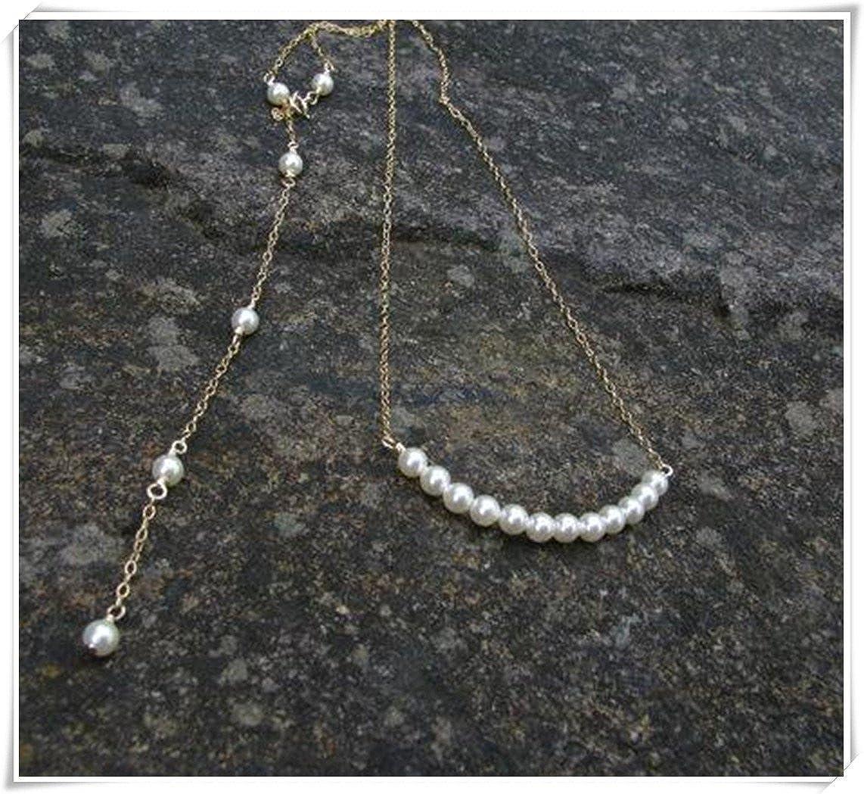 Gold Bridal Backdrop Necklace, Gold Back Drop Necklace, Large Pearl, Long Backdrop C88