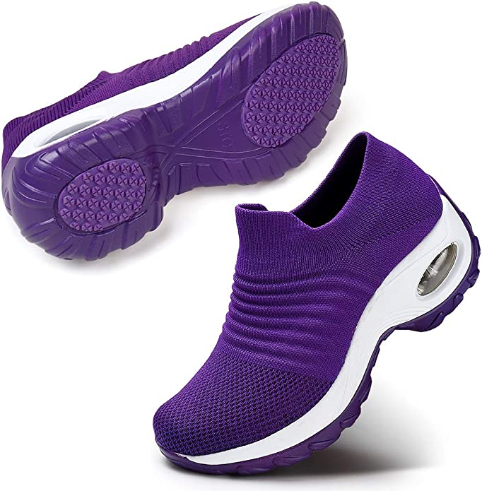 STQ Womens Walking Shoes Slip-on Lightweight Mesh Sneakers Breathable Tennis Comfortable Platform Wedge Shoes