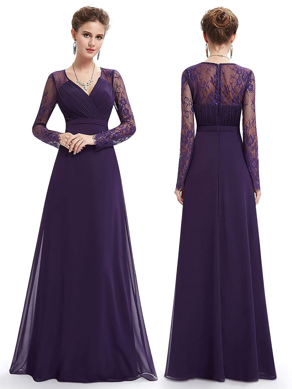 Ever,Pretty Women\u0027s Elegant V,Neck Long Sleeve Evening Party Dress 08692