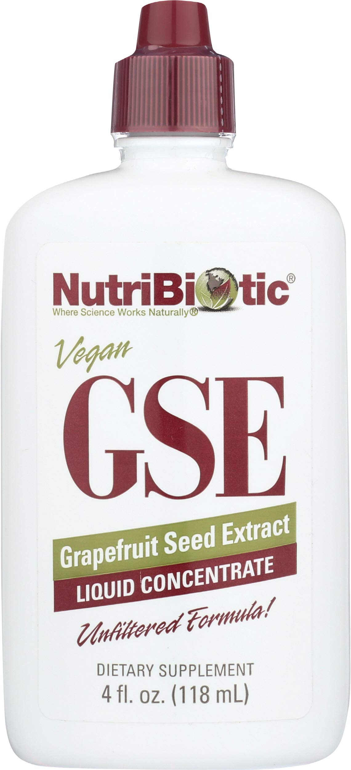 NutriBiotic Grapefruit Seed Extract Liquid Concentrate 4 Fl oz | GSE | Vegan | Potent, High Absorption | Non-GMO | Gluten Free| Dietary Supplement