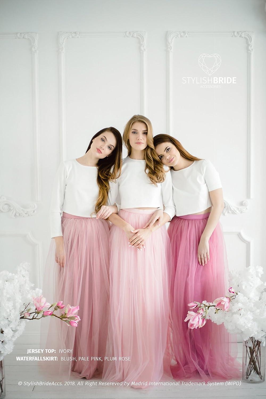 43df858103 Amazon.com: Jersey Crop Top Dress Pink Blush Plum Rose Waterfall ...
