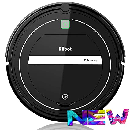 AIIBOT Aspirador Robot con Sistema de Limpieza de 3- Etapas, Sensor Inteligente de Detención de Caídas, Filtro HEPA, para Apartamentos/Casa Pequeña/Piso Duro/Alfombra de Pila Baja (T289-black) [Clase de eficiencia energética A+]