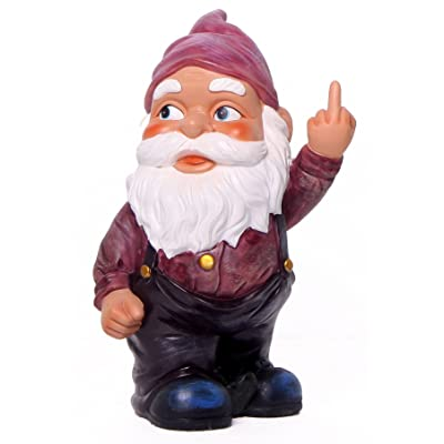 Funny Guy Mugs Garden Gnome Statue - Middle Finger Gnome - Indoor/Outdoor Garden Gnome Sculpture for Patio, Yard or Lawn: Home & Kitchen