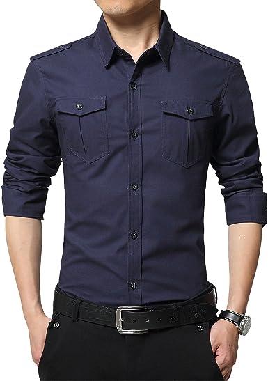 LEOCLOTHO Camisa Casual Manga Larga para Hombre Estilo Militar Slim Fit Color Sólido Camisas con Botones: Amazon.es: Ropa y accesorios