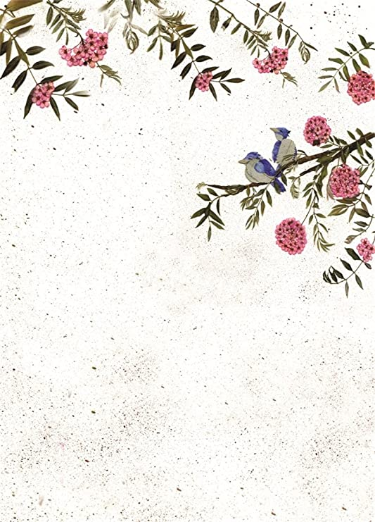 6x6FT Vinyl Photo Backdrops,Bird,Romantic Bouquet Wildflowers Photo Background for Photo Booth Studio Props