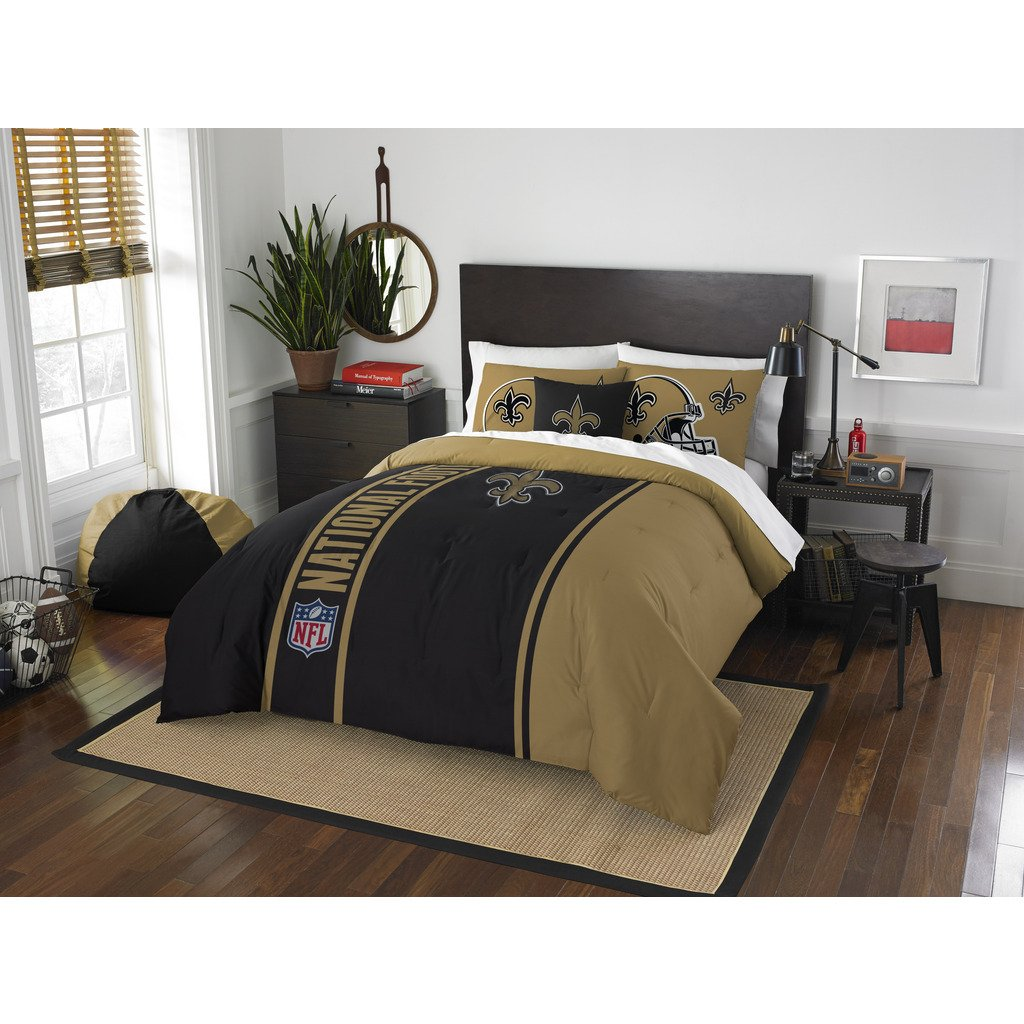 New Orleans Saints Comforter Set Bedding Shams NFL 3 Piece Full Size 1 Comforter 2 Shams Football Linen Applique Bedroom Decor Imported Sold by MBG.4u.